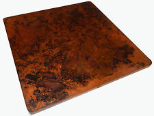 Mexican Square Copper Table Top Hand Hammered 24 Inches Stained Patina