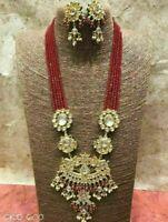 Indian Bridal Red Kundan Beads Earrings Necklace Set Women Handmade Jewellery