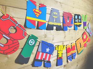 SUPERHERO💙❤️Birthday Bunting Banner Fun Colourful Mix Of Superhero's 3-4m 💙❤️