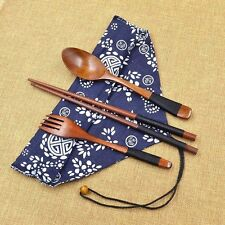 Japanese Vintage Wooden Chopsticks Spoon Fork Tableware 3pcs Set New Gift