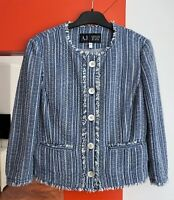 ARMANI JEANS Women's ¾ Sleeve Button Front Cropped Blue Tweed Jacket USA 4