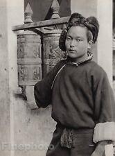 1928 Original INDIA Darjeeling Young TIBET MONK Prayer Mill Photo Art HURLIMANN