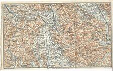 Carta geografica antica AREZZO VALDARNO CORTONA TCI 1923 Old antique map