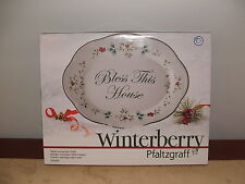 NEW IN BOX Pfaltzgraff WINTERBERRY Bless This House Platter/serve plate