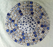 BLUE / WHITE FLORAL FLOWERS HAND MADE  PAINTED / CUT DECORATIVE MOSAIC TILES