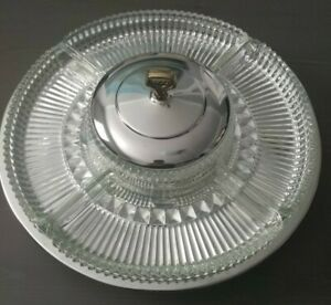 Vintage KROMEX Revolving Lazy Susan Chrome With Glass Dishes  Made in USA