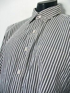 Polo By Ralph Lauren 100% Cotton, Button Front Striped Shirt in Black/White XL