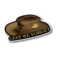 Lest we forget Anzac slouch hat rising sun sticker 7 yr water & fade proof vinyl
