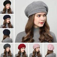 Winter Women Knitted Hat Beret Autumn Warm Ladies Wool Blend Artist Curling Cap