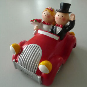 Cake Figurines Money Box Wedding Decoration Pair IN The Car Red 12cm