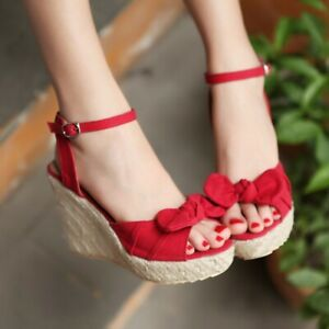 Women's Shoes Wedge Sandals Peep Toe High Heel Bowknot Ankle Strap Buckle Party