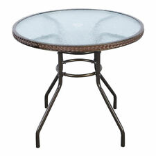 Outdoor Round Steel Rattan Patio Deck Tempered Glass Top Dining Table Furniture