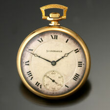 12 Size 21 Jewel Open Face Silver Metal Dial South Bend Studebaker Pocket Watch