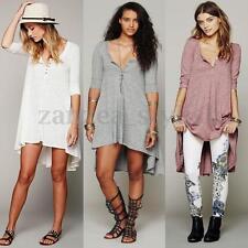 Women 3/4 Sleeve V Neck Loose Irregular Top T-Shirt Blouse Boho Maxi Shirt Dress