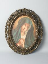 Antique Painting Sacred Face Madonna Oleography with Frame Oval Early Xx Century