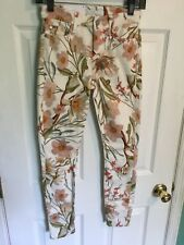 NWT 7 For All Mankind Skinny White Jeans Floral Print Sz 24 Inseam 26 MSRP $199