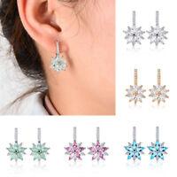 Fashion Women's Crystal Rhinestone Flower Ear Stud Circle Hoop Earrings Jewelry