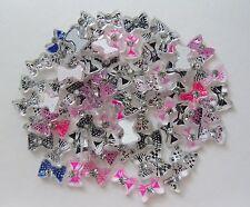 "20pcs x ""Tiny Spotty Stripe Print Bows Mix L"" 3D Acrylic Nail Art Craft Bows"