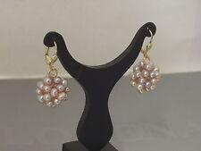 333 Gold Creolen Hänger Brisuren Süßwasserperlen Ohrringe Perlenball rose Damen