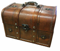 VINTAGE WOODEN TREASURE CHEST STORAGE JEWELLERY ,TRINKET, KEEPSAKE BOX DARK OAK