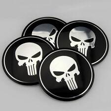 """4x 56mm 2.2"""" Car Wheel Center Cap Emblem Badge for Black Skull Hazard Warning"""