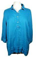 J. Jill Womens Love Linen Blue 1/2 Button Up Long Sleeve Blue Tunic Size Large