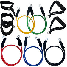 Xtech 11pc Resistance Band Set w/5 Combinable Bands for P90X Exercise Workout