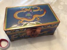 LARGE CHINESE DRAGON CLOISONNE BLUE ENAMEL TRUNK SHAPE HUMIDOR BOX SIGNED 5-CLAW