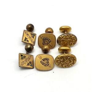 Victorian Gold Tone Seed Pearl Hearts Turquoise Repoussé Scroll Cufflinks 3 Pair
