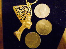 bling gold plated ancient egyptian queen pendant Charm hip hop chain Necklace gp
