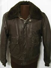 vintage EXCELLED 70s BROWN BOMBER SHERPA LEATHER FLIGHT JACKET motorcycle M 42