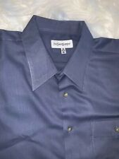 YVES SAINT LAURENT Men's Size 16 34/35 Blue Birdseye Button Down Dress Shirt