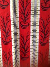 Vintage Retro 1950s Woven Fabric Curtain Red Grey Yellow Pot Plant Mid Century