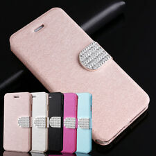 Ultra Thin Bling Diamond Leather PC Flip Magnetic Cover Case For Samsung iPhone