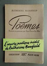 """Katherine MANSFIELD """" Poèmes """" E.O.NUM HC. 1/50 Alfa Mousse (1946)"""