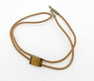 Vintage Polished Stone Western Bolo Tie Brown Brass Tips TF