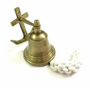 Nautical antique finish brass bell with anchor ship boat wall mount decor gift