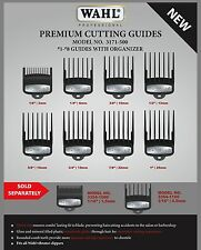 WAHL PREMIUM METAL BACK NON SLIP GUIDE COMBS #1-8 WITH ORGANIZER # 3171-500 USA