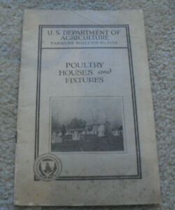 Vintage 1934 Booklet US Deptartment Agriculture Poultry Houses and Fixtures