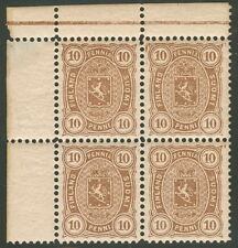 FINLAND #27 10p brown, Corner Margin Block of 4 NH