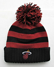 Miami Heat Black On Red Stripes Large Size Knit Beanie Cap Hat by Adidas