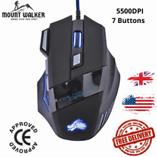 5500DPI LED Optical USB Wired Gaming Mouse 7 Buttons Gamer Computer Black Mice