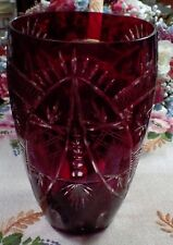 "Beautiful Bohemian Ruby Red Cut To Clear Crystal Glass Vase 8 3/4"" High"