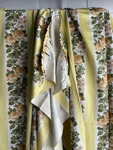 Vintage Pair Of Floral Curtains Fabric Interlined