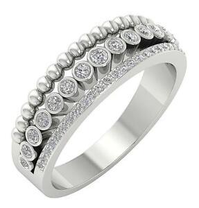 Designer Wedding Ring SI1 G 0.50 Ct Round Cut Diamond 14K Yellow Gold 6.90 mm