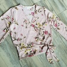 Free Kisses Womens Long Sleeve Blouse Size Small Pink Floral Front Tie Faux Wrap