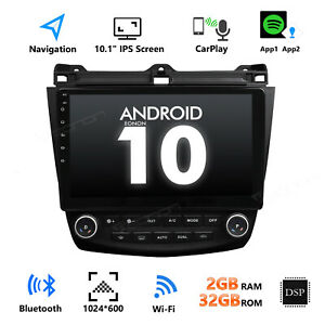 "Android 10 10.1"" Car Stereo Radio GPS Bluetooth OBD2 WiFi For Honda Accord 03-07"