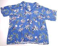 Reyn Spooner Vtg Mens XL Palm Pineapple Short Sleeve Aloha Hawaiian Camp Shirt