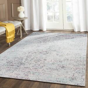 Sale Large Rug Aqua Grey Soft Distressed Allover Paisley Lounges Carpet 200x290
