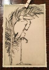 Limited Edition Drypoint Etching on Toned Paper of a Stork and a Feather